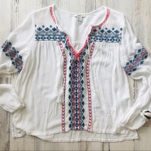 Embroidered White Drawstring Boho Blouse Small